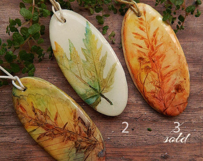 Multicolor herbs necklace, grass pendant, boho style, hand-painted, epoxy, natural style, summer jewelry, Maple Leaf, minimalism, imprint