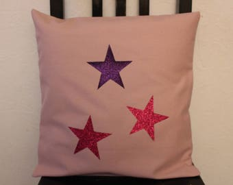 """""""Star"""" pink and purple pillow cover and pillow"""