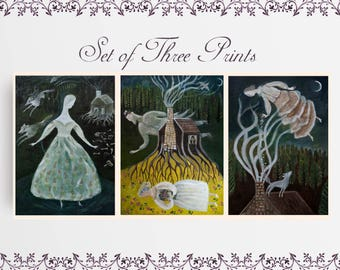Print Set, Fairytale Prints, Folklore Wall Art, Dreamy Wall Art, Handmade Art Gift, Folk Illustration, Whimsical Art, Dreamy Paintings