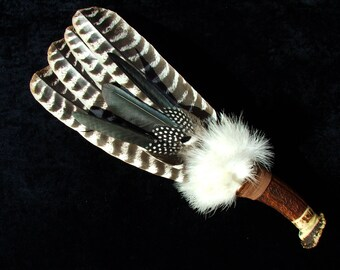 Smudge fan - 4 feather + secondary decoration