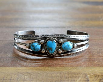 Southwest Navajo Style Sterling Silver and Turquoise Cuff Bracelet