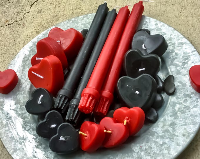 Valentines Day gift-set of pure beeswax candles-taper candles-red candles-black candles- beeswax candles set-heart candles-valentines day