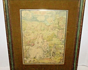 Vintage Albrecht Durer Madonna With The Many Animals Virgin Mary Religious Print Lithograph Colored Framed