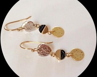 Cute drop earrings/ Silver plated earrings/ Textured earrings/ Mix metal earrings/ Black stone earrings/ Fashion earrings