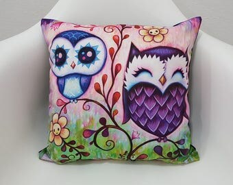 Cute Baby and Mama Owl Printed Cushion Case 17x17 Pillow Covers
