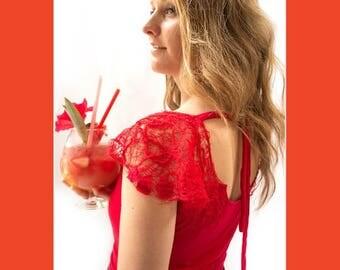 HAUT ÉPAULES BRODÉES-chandail en bambou-broderie-chandail rouge-manches raglans-jersey-chandail confortable-paillette-attache au dos-