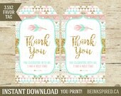 Wild One Favor Tags, Thank You Tags, Tribal Favor Tags, Wild One Party, Wild One Birthday, Pink Gold Mint, Printable, OLIVIA, DIGITAL FILE
