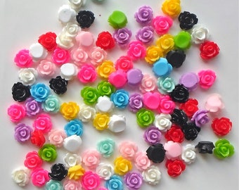 20/ 50/ 100  x Mixed Assorted Colours Flat Back Rose Flower 10mm Resin/ Acrylic Cabochons 1
