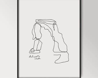 Delicate Arch Line Print | National Park | Arches National Park | Outdoor Print