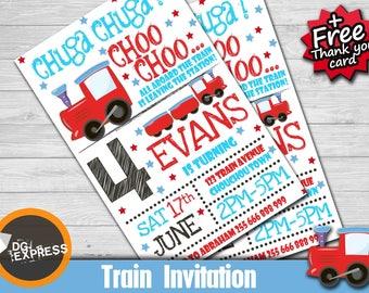 "Train Birthday Invitation ""TRAIN INVITATION"" - Digital Train Party Invite, Chuga Chuga Printable, train Birthday, train party invite"