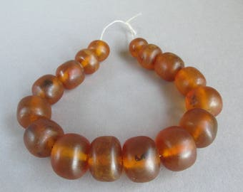 Sale 20% ! Antique amber beads, Pressed amber, Cognac color, Honey color, 16 beads