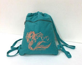 Mermaid Embroided Canvas Backpack