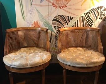 Vintage Cane Back Swivel Chairs