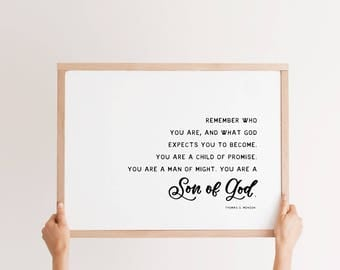 18 X 24 Remember who you are, Thomas S. Monson quote, painted wood sign, natural wood frame