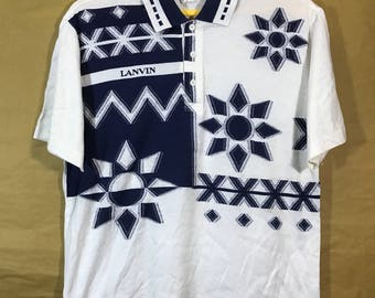 """Vintage LANVIN STUDIO Polo Shirt Chest 21"""""""