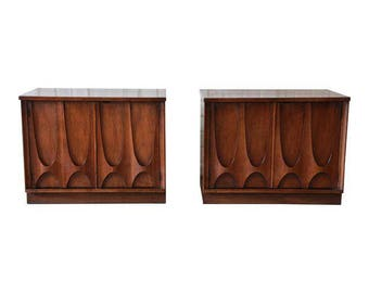 Pair of Broyhill Brasilia Mid-Century Modern Nightstands