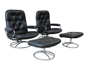 Vintage Black Leather Ekornes Stressless Lounge Chairs u0026 Ottomans - a Pair  sc 1 st  Etsy : vintage ekornes stressless recliner - islam-shia.org