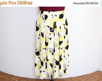 25% OFF VTG 80s Plus Size Pleated Flower Yellow Button Down Skirt XL/Xxl