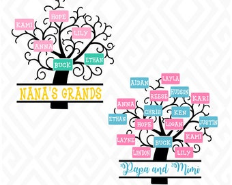 Family Tree with 2 through 17 Name Places; SVG, EPS, DXF, Ai, Png, Jpeg and Pdf Digital Files for Electronic Cutting Machines