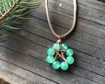 Pentacle necklace, Aventurine necklace, Amethyst pentacle, Wiccan jewelry, Pagan jewelry