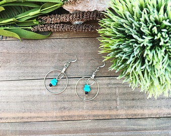 Silver and turquoise magnesite earrings