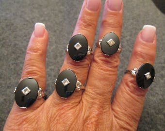 Stunning Retro genuine Black ONYX & Sterling ring with CZ> 1950's Vintage> new old stock, never worn> various sizes