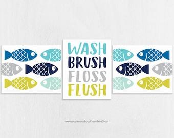 Fish Bathroom Art Prints Set of 3 - Fish Bathroom Decor - Kids Bathroom Decor - Boy Bathroom Art - Nautical Bathroom Wall Decor