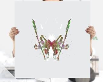 Ink Print | Ink Blot - Rorschach Art - Psychology Art - Psychiatrist Gift | Instant Download | Extra Large Print | Therapist Office