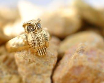 18k gold owl ring