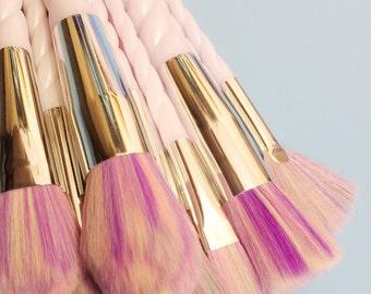 LIVRAISON gratuite - 10 spirale corne maquillage pinceaux Brush Set GEL nacré Licorne amoureux!