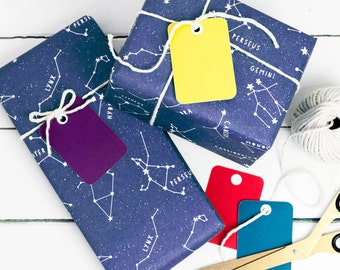 CONSTELLATIONS WRAPPING PAPER Stars Gift Wrap Set Educational Illustrated Dark Blue Kraft Sheets Colourful Tags. Birthday Party Astronomy Uk