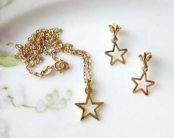 Vintage 10k Yellow Gold Star Necklace Earring 15 Inch Short Fine Chain Jewelry Child Little Girl Delicate 1970 1980 Christening 1st Birthday