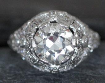 Stunning Edwardian Engagement Ring with 3.21 ct Total Weight 2.71 ct Old European Cut Diamond GIA - DK96