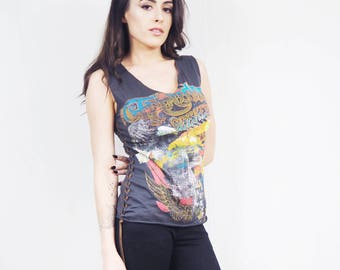 Suede Corset Top Lace Up T-shirt Women's Cotton Tops Boho Washed Black Vintage Motorcycle Print Tank Top Leather Lace Up Sides Festival Tee