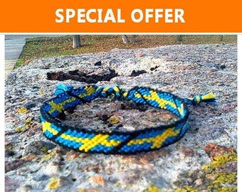 Sweden Flag friendship bracelet Swedish woven cotton gift