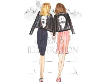 Best friend art, illustration,best friend gift, BFF, Fashion sketch, Fashion illustration, gift for her, wall art