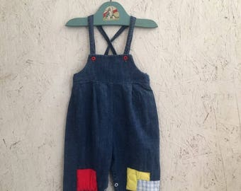 Vintage Baby Clothes Patched Denim Overalls Size 6-9 Months