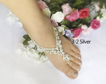 Wedding Rhineston Barefoot Sandals, Bridal Foot Jewelry, Gold or Silver Plated Rhinestone Foot Jewelry, Footless Sandal-SD019