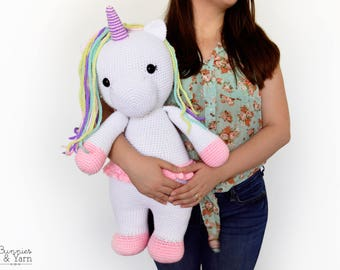 CROCHET PATTERN in English - Betsy the Big Unicorn - 21.5 in./55 cm. tall - Amigurumi Animal - Nursery Kids Gift Toy - Instant PDF Download