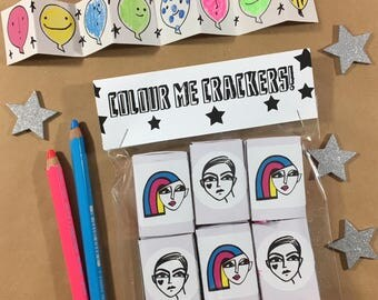 Colour Me Crackers! Pack of 6 handmade Creative Christmas Crackers / Party Favours