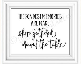 The fondest memories are made when gathered around the table, printable home decor, dining room art, kitchen wall art, gift for mom