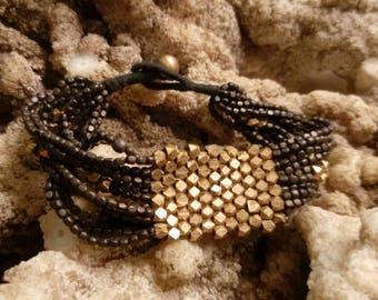 Brass beads bracelet gold n black