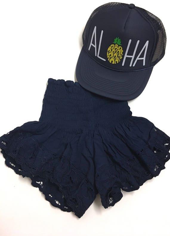 Navy Lace Shortie |shorts | Navy shorts | Lace shorts|  Summer Shorts | Bali shorts | elastic shorts |