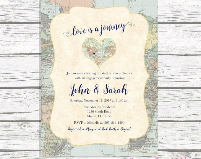 Map Travel Engagement Party Invitation, Love is a Journey, Adventure Awaits Engagement Party Invite, Destination Wedding, Printable Invite