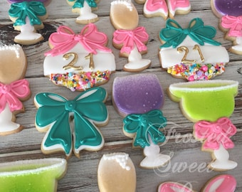 2 dozen 21st Birthday Margarita Wine Champagne Drink Cookies