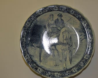 Blue Delft Charger, Couple in Horse Drawn Carriage #8116