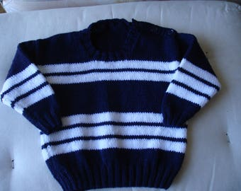 Jumper knitted in Navy and White 8 ply