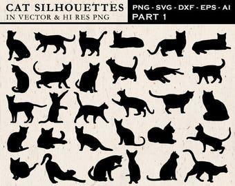 Cat Silhouette Clipart, Cat Silhouette Clip Art, Cat Clipart, Cat Clip Art PNG & Vector EPS, AI Design Elements Instant Download