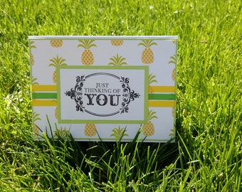 Thinking of You Green and Yellow Pineapple Handmade Card