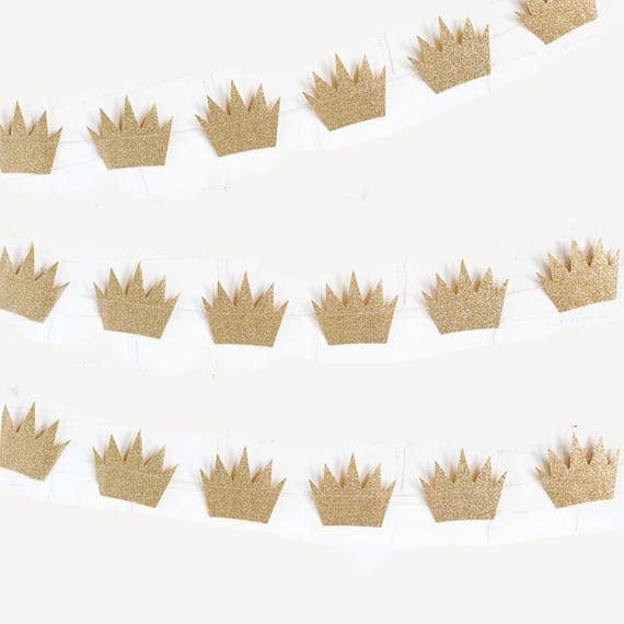 Gold Glitter Crown Garland Gold Crown Garland Crown Prince Baby